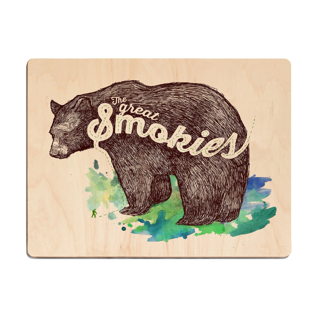 Smokies Bear Wood Print - The Meridian Line