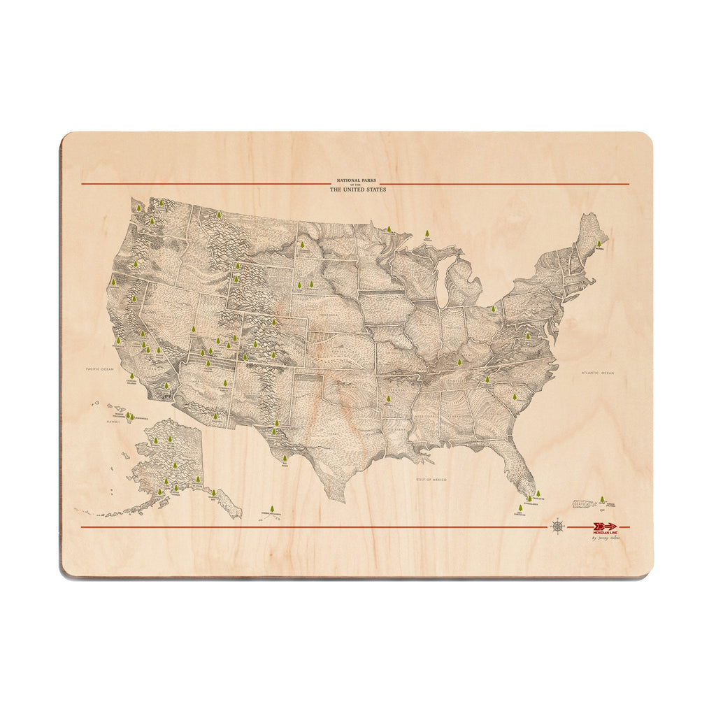 USA Parks Map Wood Print - The Meridian Line