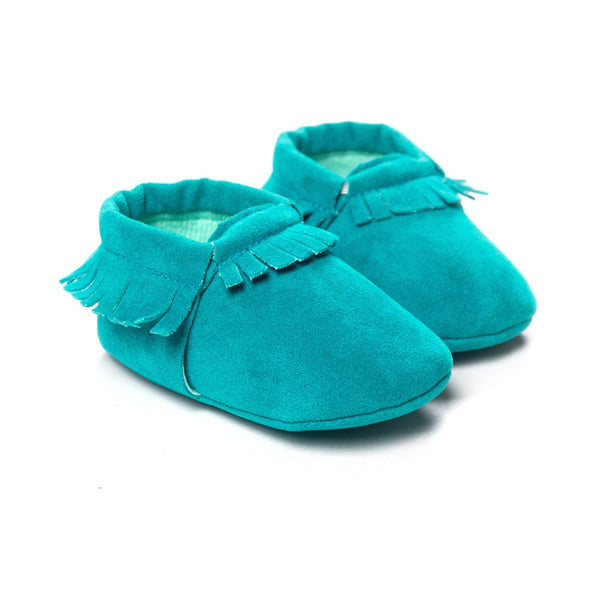 Moccasins Fringe Shoes for Newborn Baby Soft Sole Non Slip Leather Moccs Crib Shoes green color