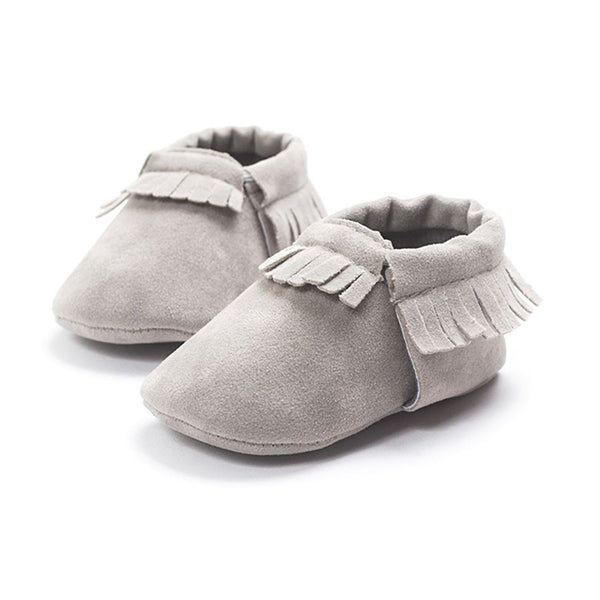 Moccasins Fringe Shoes for Newborn Baby Soft Sole Non Slip Leather Moccs Crib Shoes grey color