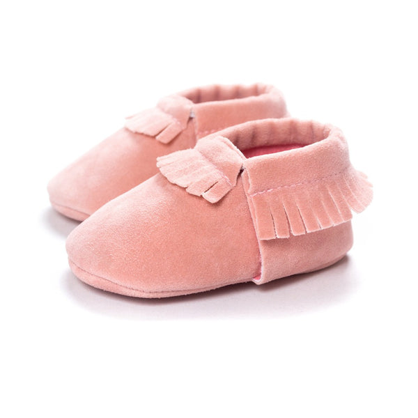 Moccasins Fringe Shoes for Newborn Baby Soft Sole Non Slip Leather Moccs Crib Shoes peach color