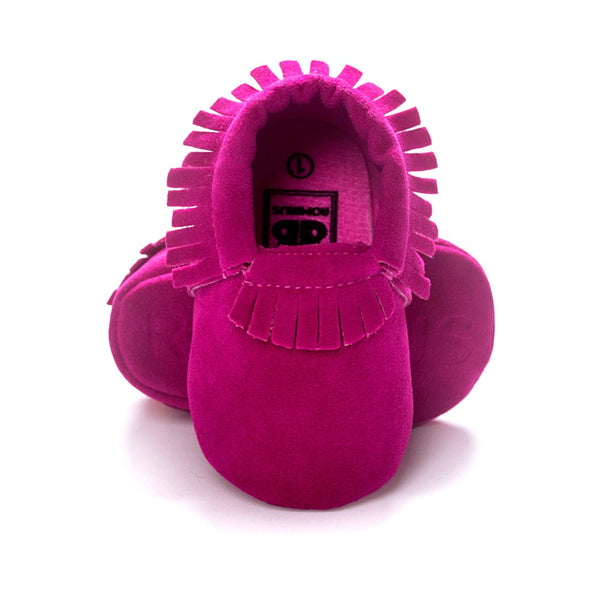 Moccasins Fringe Shoes for Newborn Baby Soft Sole Non Slip Leather Moccs Crib Shoes pink color