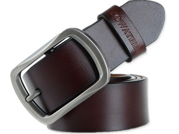 cowhide genuine leather belts for men coffee color