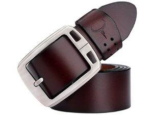 cowhide genuine leather belts for men brown color