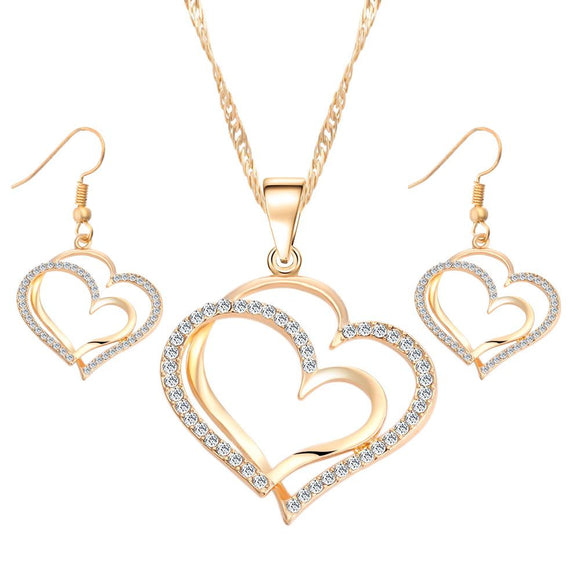 Romantic Hearts Crystal Earrings Necklace Jewelry Set-gold