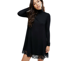 Turtleneck Black Dress with Crochet Lace Trim
