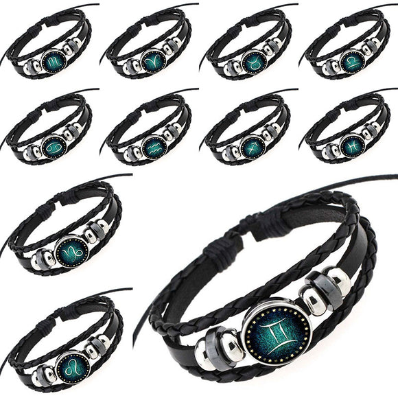 Cabochon Braided Leather Bracelet Complete Zodiac Sign