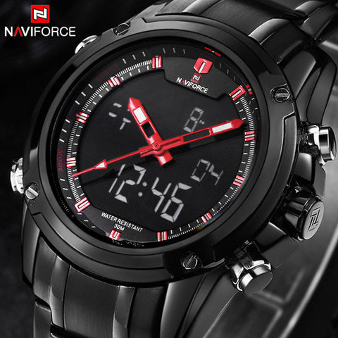 Grant Sports Military Wrist Watches for Men Quartz LED Digital Full Steel