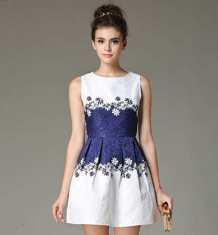 Jacquard Casual Summer Sleeveless Dress