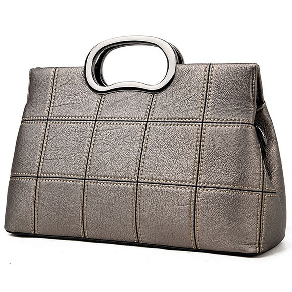 Patchwork Shell Tote Handbags Leather Bags-bronze