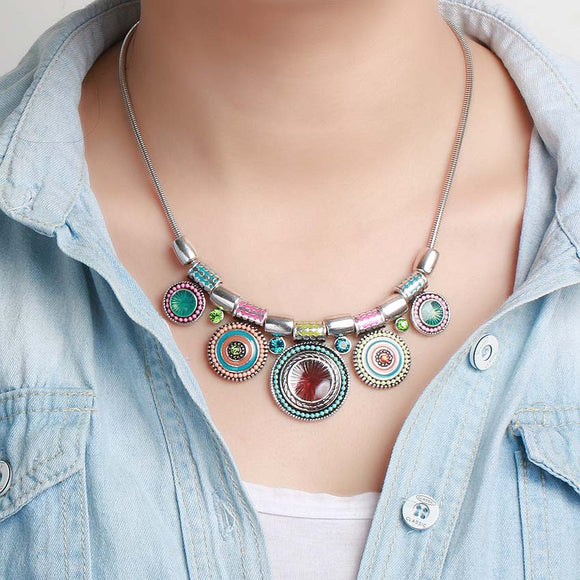 Joan's Collares Bead Style Pendant Choker Necklace Jewelry Free + Shipping