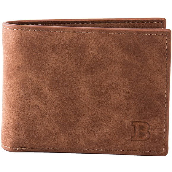 Quality Leather Men's Thin Wallets w Card and Coin Holder brown color wallet