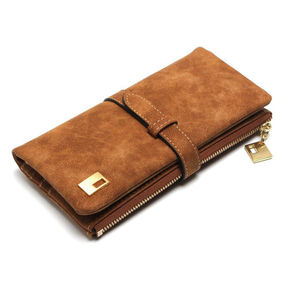 Quality Nubuck Leather Zipper Wallet Long Design Two Fold Purse