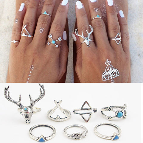 7 piece bohemian style silver rings
