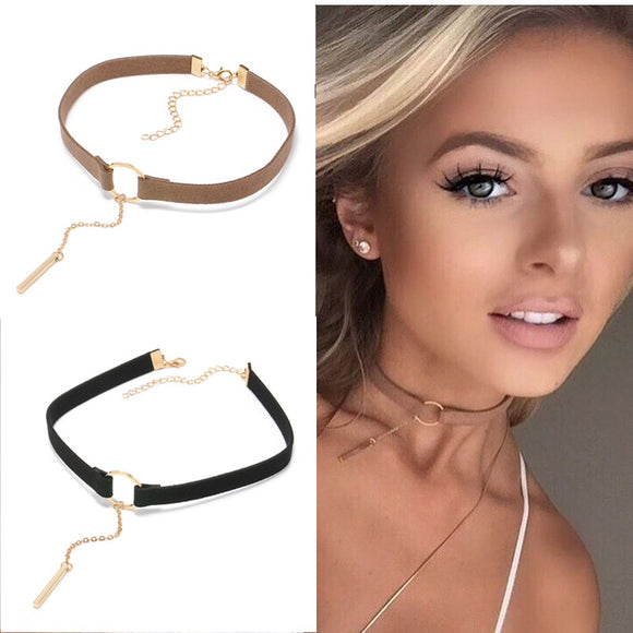 Leather Choker Necklace with Gold Plated Round Pendant Collar