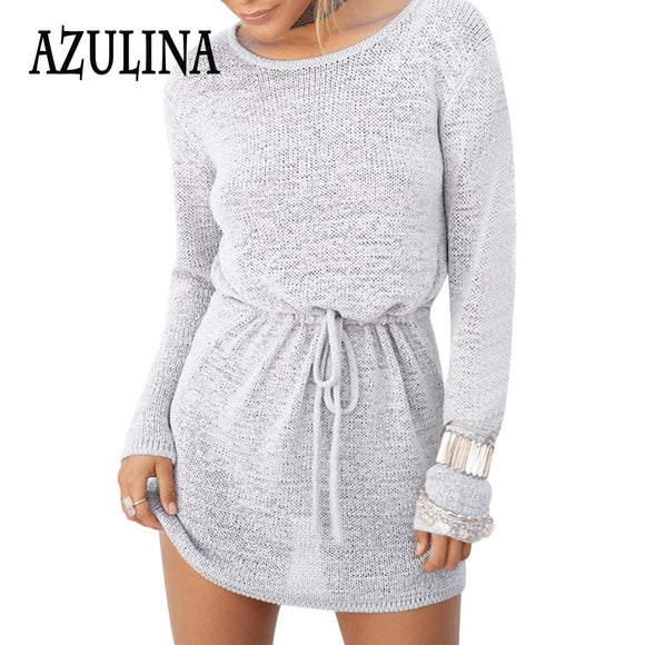 Loose Backless Mini Beach Dress Long Sleeve Casual Sexy Dress for Spring Summer