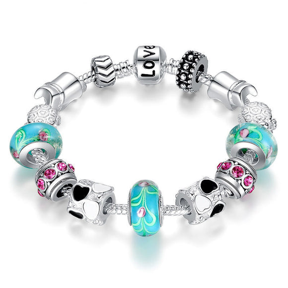 Silver Charm Bracelet with Murano Beads