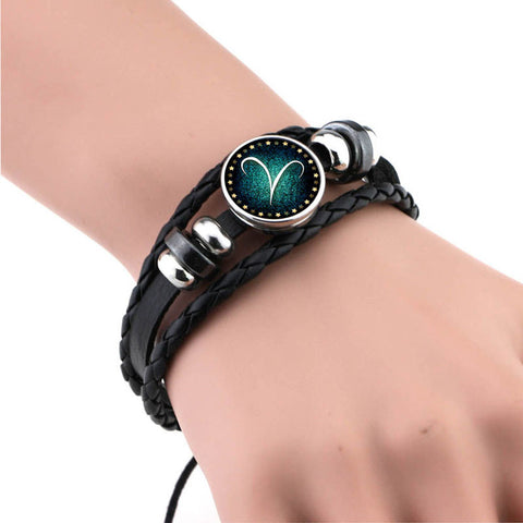 Braided Leather Constellation Surf Punk Charm Bracelet