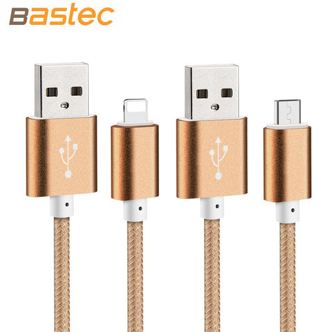Bastec USB Charger Nylon Braided Wire Metal Plug Micro USB Cable for iPhone Samsung Sony HTC