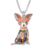 Chihuahuas Crafted Colorful Art Pendant Necklace Jewelry