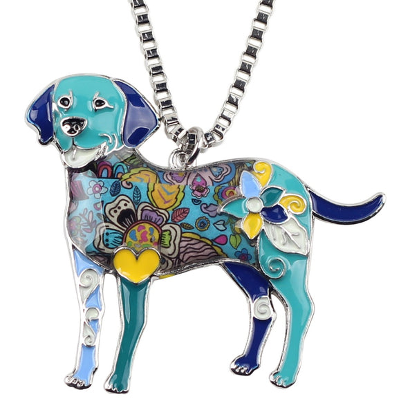 Labrador Crafted Colorful Art Pendant Necklace Jewelry