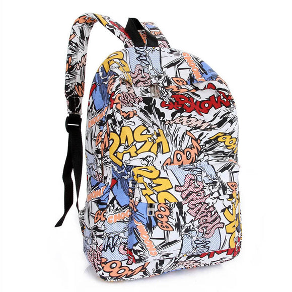 Unisex Character School Backpack for Teenagers Backpack with Cartoon Graffiti Print