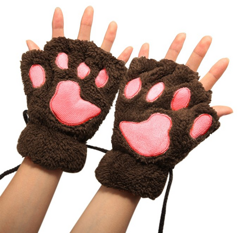 Cat Paw Plush Soft Winter Gloves