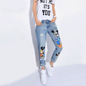 Chic Boyfriend Denim Jeans with Patched design
