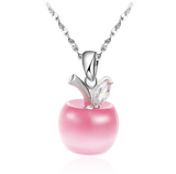 silver necklace with pink apple pendant