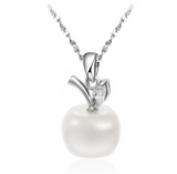 silver necklace with white apple pendant