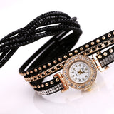 Luxury Gold Fashion Crystal Rhinestone Bracelet Quartz Wristwatches