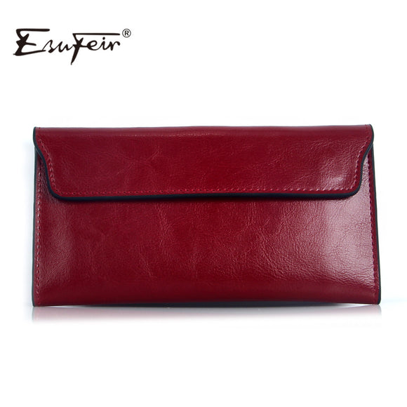 Female Wallet in Genuine Leather Long Purse Vintage Solid Cowhide Multiple Cards Holder Clutch Fashion Standard Wallet
