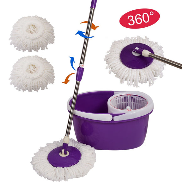 Mop Easy Spin Mop 360 Magic Floor Mop with Bucket 2 Microfiber Head Spinning Rotating Mop