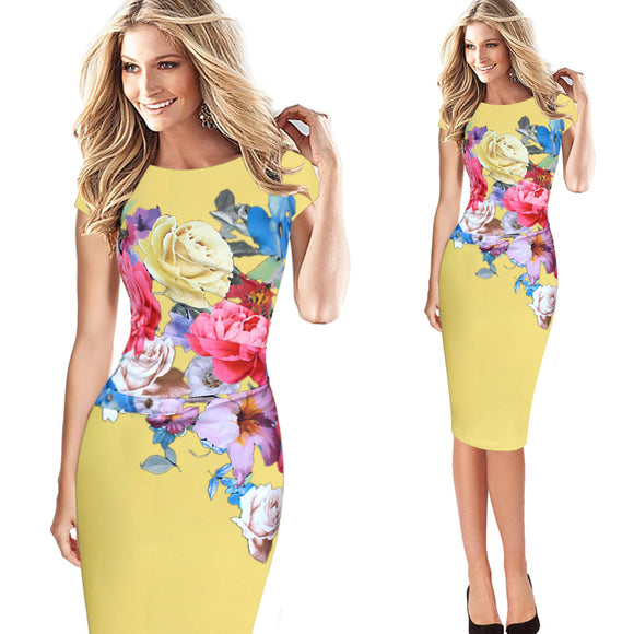 Elegant Floral Dress with Cap Sleeve_yellow color