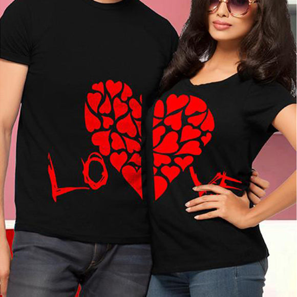 LOVE Joined Half Hearts Couple's T Shirts