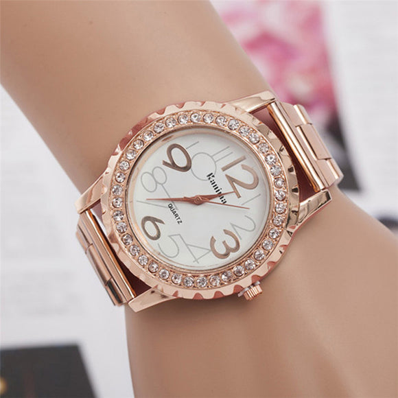 Luxury Stainless Steel Crystal Wristwatch Relogio Feminino
