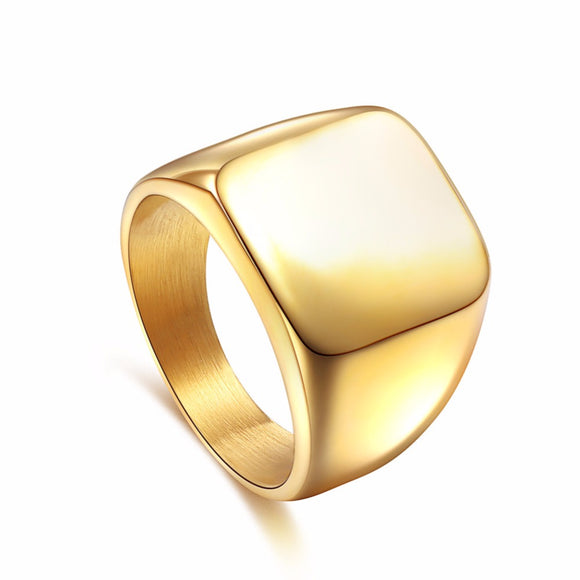 Square Bold Titanium Signet Fashion Rings for man