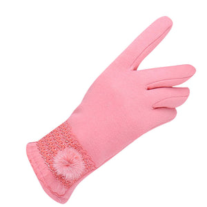 Fashionable Winter Gloves for women pink color cashmere gloves for winter pink gloves