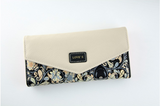 Female Wallet in Envelope Design and Flower Pattened Leather Clutch