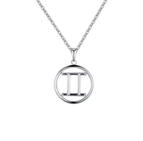 Gemini Zodiac sign symbol high quality Silver necklace