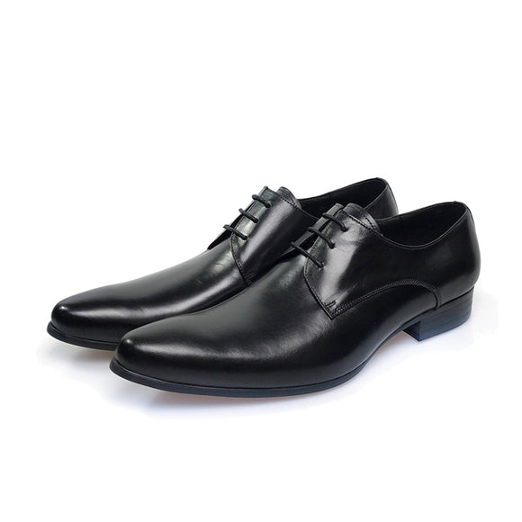 Genuine Leather Men's Shoes Italian Style_Black Color Shoes
