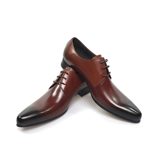 Genuine Leather Men's Shoes Italian Style_Brown Color Shoes
