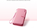 Genuine Leather Women Wallets High Quality Design with Cell Phone and Card Holder Wallet Purse Clutch-pink