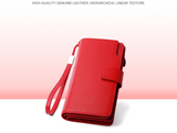 Genuine Leather Women Wallets High Quality Design with Cell Phone and Card Holder Wallet Purse Clutch-red
