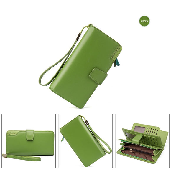 Genuine Leather Women Wallets High Quality Design with Cell Phone and Card Holder Wallet Purse Clutch-green