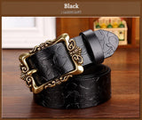 High Quality Genuine leather belt Wide vintage Floral belt