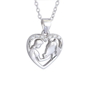 Pure Sterling Silver Necklace Heart Shaped High Quality necklace for horse lovers