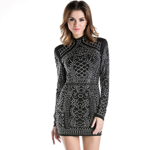 Balmain Style Sexy Geometric Retro Rhinestone High-necked Long-Sleeved Black Dress