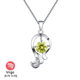 Platinum Plated Austrian Crystal Zodiac Necklace