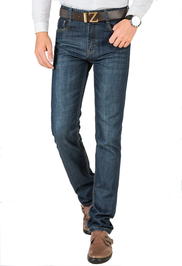 High Quality Denim Jeans Men's Blue Straight Cut Casual Denim